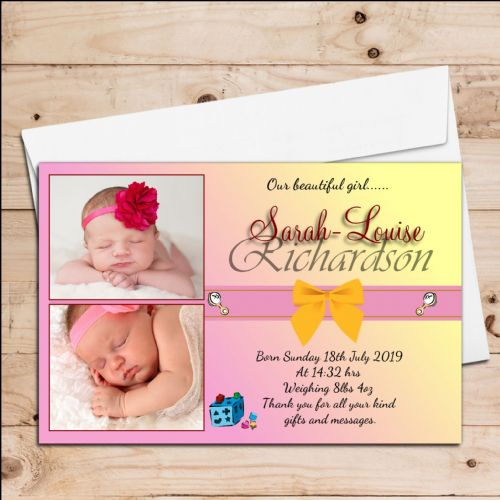 10 Personalised Baby Girl Birth Announcement Thank You Photo Cards N62